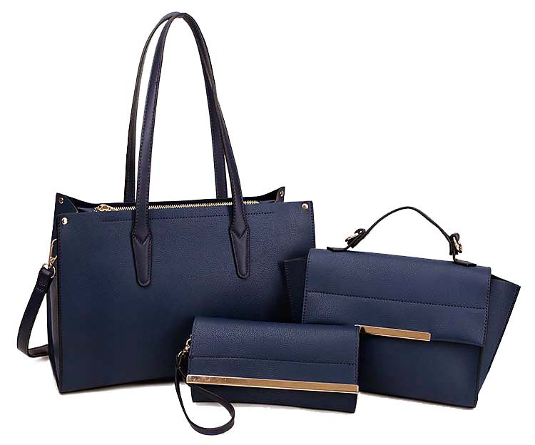 NAVY BLUE TOTE HANDBAG SET WITH SMALL HOLDALL CROSS BODY BAG AND CLUTCH BAG / PURSE WALLET