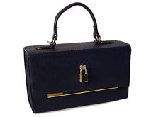 NAVY HARDBACK BOX SHOULDER BAG WITH PADLOCK DESIGN AND LONG STRAP