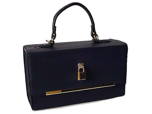 A-SHU NAVY HARDBACK BOX SHOULDER BAG WITH PADLOCK DESIGN AND LONG STRAP - A-SHU.CO.UK