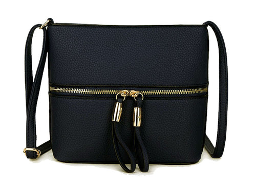 NAVY BLUE MULTI COMPARTMENT CROSSBODY BAG WITH LONG STRAP