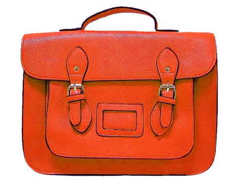 ORANGE LEATHER EFFECT SATCHEL HANDBAG WITH LONG SHOULDER STRAP