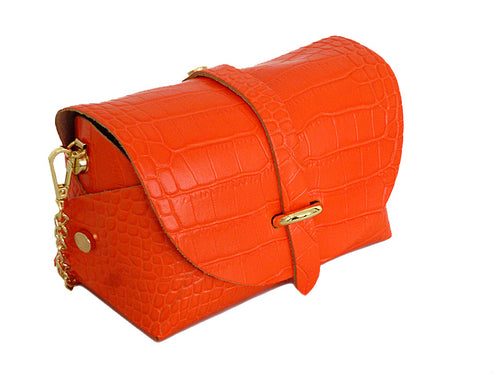 ORANGE GENUINE LEATHER CROC PRINT CROSS BODY BAG WITH CHAIN STRAP