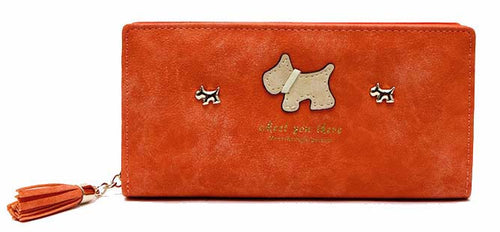 A-SHU ORANGE MULTI-COMPARTMENT DOG PURSE WALLET WITH TASSEL - A-SHU.CO.UK