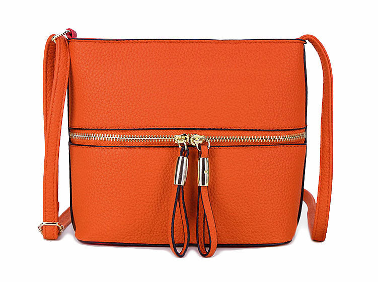A-SHU ORANGE MULTI COMPARTMENT CROSSBODY BAG WITH LONG STRAP - A-SHU.CO.UK