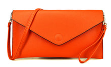 ORANGE OVER-SIZED ENVELOPE CLUTCH BAG WITH LONG CROSS BODY AND WRISTLET STRAPS