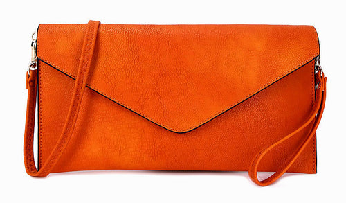 ORANGE OVER-SIZED ENVELOPE CLUTCH BAG WITH LONG CROSS BODY AND WRISTLET STRAP