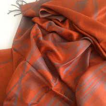 A-SHU ORANGE PEWTER REVERSIBLE PASHMINA SHAWL SCARF IN ABSTRACT FLORAL PRINT - A-SHU.CO.UK