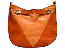 ORANGE SUEDE AND LEATHER EFFECT TOTE HANDBAG WITH LONG STRAP