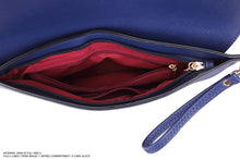 A-SHU NAVY BLUE OVER-SIZED ENVELOPE CLUTCH BAG WITH LONG CROSS BODY AND WRISTLET STRAP - A-SHU.CO.UK