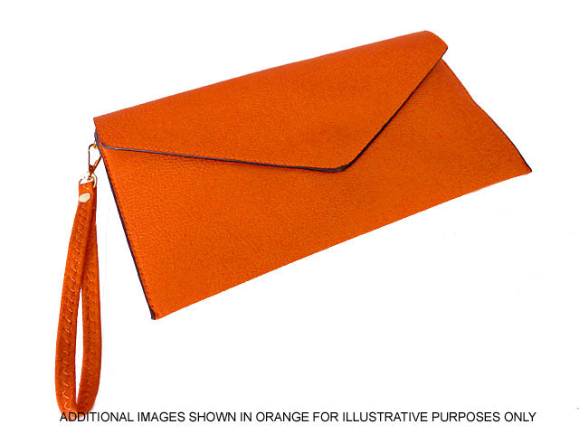 A-SHU BROWN OVER-SIZED ENVELOPE CLUTCH BAG WITH LONG CROSS BODY AND WRISTLET STRAP - A-SHU.CO.UK