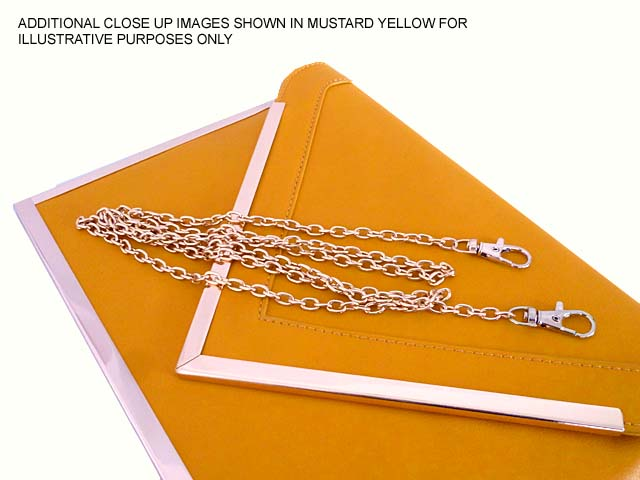 A-SHU OVERSIZED SILVER METAL ENVELOPE CLUTCH BAG WITH LONG CHAIN SHOULDER STRAP - A-SHU.CO.UK