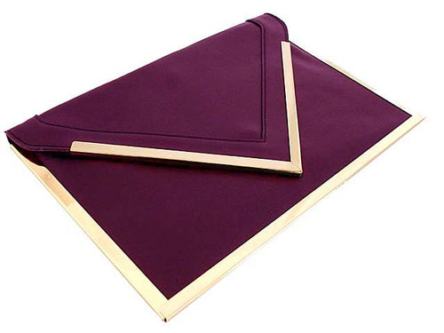 A-SHU OVERSIZED PURPLE METAL ENVELOPE CLUTCH BAG WITH LONG CHAIN SHOULDER STRAP - A-SHU.CO.UK