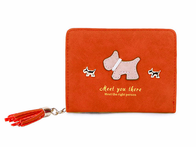 A-SHU SMALL ORANGE BI-FOLD DOG WALLET COIN PURSE WITH TASSEL - A-SHU.CO.UK