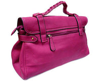 LIGHT PURPLE SATCHEL HANDBAG WITH LONG SHOULDER STRAP