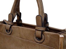 A-SHU SMALL TAUPE LEATHER EFFECT MULTI-COMPARTMENT HANDBAG WITH LONG STRAP - A-SHU.CO.UK