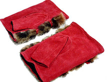A-SHU SLIM FIT GENUINE LEATHER RED FINGERLESS FUR MITTENS - A-SHU.CO.UK