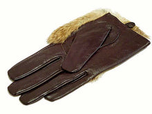 SLIM FIT GENUINE LEATHER BROWN GLOVES WITH FUR FRONT