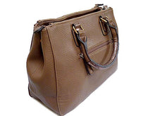 A-SHU ORDER BY REQUEST - DARK TAUPE LEATHER EFFECT MULTI-COMPARTMENT HANDBAG WITH DETACHABLE PURSE AND LONG STRAP - A-SHU.CO.UK