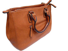 TAN LEATHER EFFECT MULTI-COMPARTMENT HANDBAG WITH DETACHABLE PURSE AND LONG STRAP