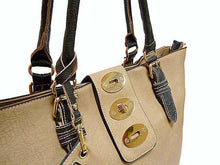 A-SHU 4 PIECE BEIGE PART LEATHER TOTE SET WITH INTERNAL BAG, PURSE AND LONG STRAP - A-SHU.CO.UK