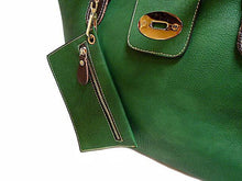 A-SHU 4 PIECE GREEN PART LEATHER TOTE SET WITH INTERNAL BAG, PURSE AND LONG STRAP