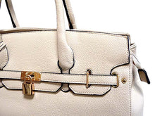 ORDER BY REQUEST - DESIGNER STYLE PALE BEIGE MULTI-COMPARTMENT HOLDALL HANDBAG WITH LOCK, KEY AND LONG STRAP