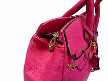A-SHU DESIGNER STYLE FUSHCIA PINK MULTI-COMPARTMENT HOLDALL HANDBAG WITH LOCK, KEY AND LONG STRAP - A-SHU.CO.UK