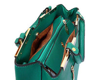 A-SHU DESIGNER STYLE LIGHTWEIGHT TURQUOISE MULTI-COMPARTMENT HOLDALL HANDBAG WITH LONG STRAP - A-SHU.CO.UK