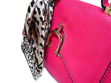 A-SHU DESIGNER STYLE SMALL FUSHCIA PINK HANDBAG WITH HORSE SHOE BUCKLE AND DETACHABLE SCARF - A-SHU.CO.UK