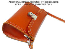A-SHU SMALL ORANGE GENUINE LEATHER CLUTCH BAG / SHOULDER BAG WITH LONG STRAP - A-SHU.CO.UK