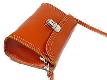 SMALL TAN GENUINE LEATHER CLUTCH BAG / SHOULDER BAG WITH LONG STRAP