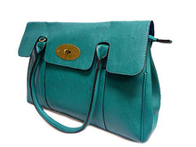 A-SHU TURQUOISE BLUE LEATHER EFFECT CLASSIC HANDBAG WITH TWIST-LOCK CLOSURE - A-SHU.CO.UK