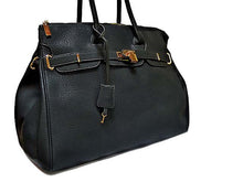 A-SHU ORDER BY REQUEST - XXL DESIGNER STYLE BLACK TRAVEL HOLDALL HANDBAG WITH LOCK, KEY AND LONG STRAP - A-SHU.CO.UK