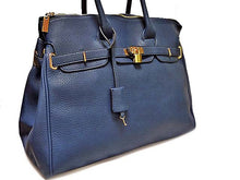A-SHU ORDER BY REQUEST - XXL DESIGNER STYLE BLUE TRAVEL HOLDALL HANDBAG WITH LOCK, KEY AND LONG STRAP - A-SHU.CO.UK