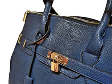 ORDER BY REQUEST - XXL DESIGNER STYLE BLUE TRAVEL HOLDALL HANDBAG WITH LOCK, KEY AND LONG STRAP