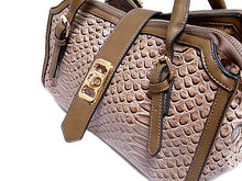 A-SHU TAUPE CROCODILE PRINT MULTI-COMPARTMENT HANDBAG - A-SHU.CO.UK