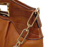 LARGE TAN LEATHER EFFECT CHAIN LINKED SHOULDER BAG / HOLDALL HANDBAG