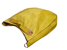 ORDER BY REQUEST - YELLOW SUEDE AND LEATHER EFFECT TOTE HANDBAG WITH LONG STRAP