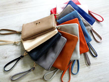 A-SHU LARGE MULTI-POCKET CROSSBODY BOW PURSE BAG WITH WRIST AND LONG STRAPS - TAUPE - A-SHU.CO.UK