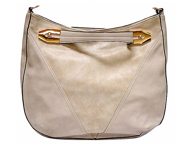 PALE GREY SUEDE AND LEATHER EFFECT TOTE HANDBAG WITH LONG STRAP
