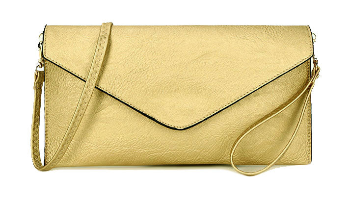 A-SHU LARGE PALE METALLIC GOLD OVERSIZED ENVELOPE CLUTCH BAG WITH WRISTLET AND LONG CROSSBODY SHOULDER STRAP - A-SHU.CO.UK