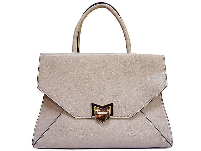 PALE TAUPE GREY MULTI-COMPARTMENT HANDBAG WITH LONG SHOULDER STRAP