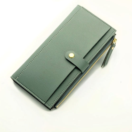 PASTEL BLUE FAUX LEATHER SLIM MULTI-COMPARTMENT PURSE WALLET WITH MOBILE PHONE SLOT