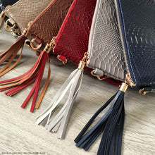 TAN PATENT SNAKESKIN TASSEL CLUTCH BAG WITH LONG CROSS BODY SHOULDER STRAP