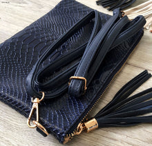 METALLIC GOLD PATENT SNAKESKIN TASSEL CLUTCH BAG WITH LONG CROSS BODY SHOULDER STRAP