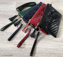 NAVY BLUE PATENT TASSEL CLUTCH BAG WITH LONG CROSS BODY SHOULDER STRAP