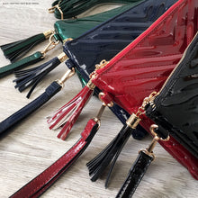 GREEN PATENT TASSEL CLUTCH BAG WITH LONG CROSS BODY SHOULDER STRAP