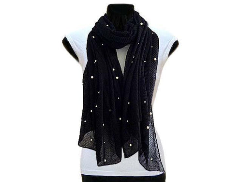 A-SHU PEARL BEAD BLACK CRINKLE LIGHTWEIGHT SCARF - A-SHU.CO.UK