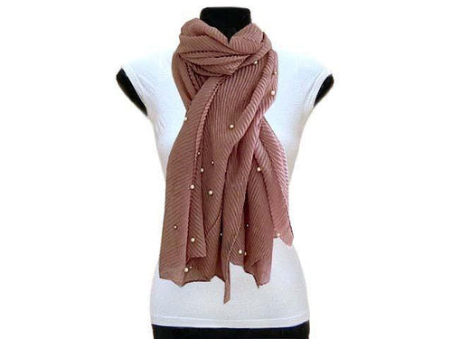 A-SHU PEARL BEAD BLUSH PINK CRINKLE LIGHTWEIGHT SCARF - A-SHU.CO.UK