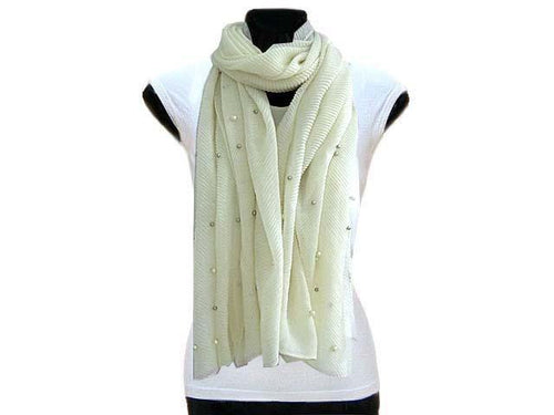 A-SHU PEARL BEAD CREAM CRINKLE LIGHTWEIGHT SCARF - A-SHU.CO.UK
